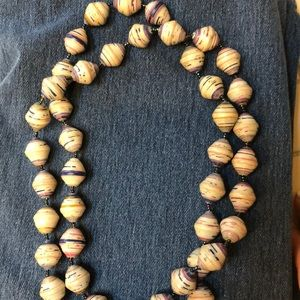 Long art show paper bead contemporary necklace